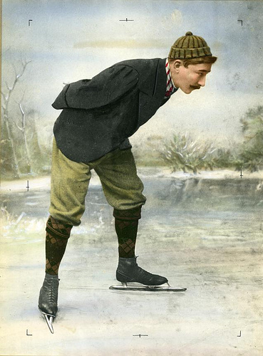 Dutch skater Jaap Eden on the ice. Location unknown, 1890-1900. Coloured black and white photograph. Nationaal Archief / Spaarnestad Photo