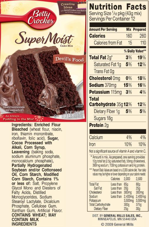 Betty Crocker Devils Food Cake Nutrition