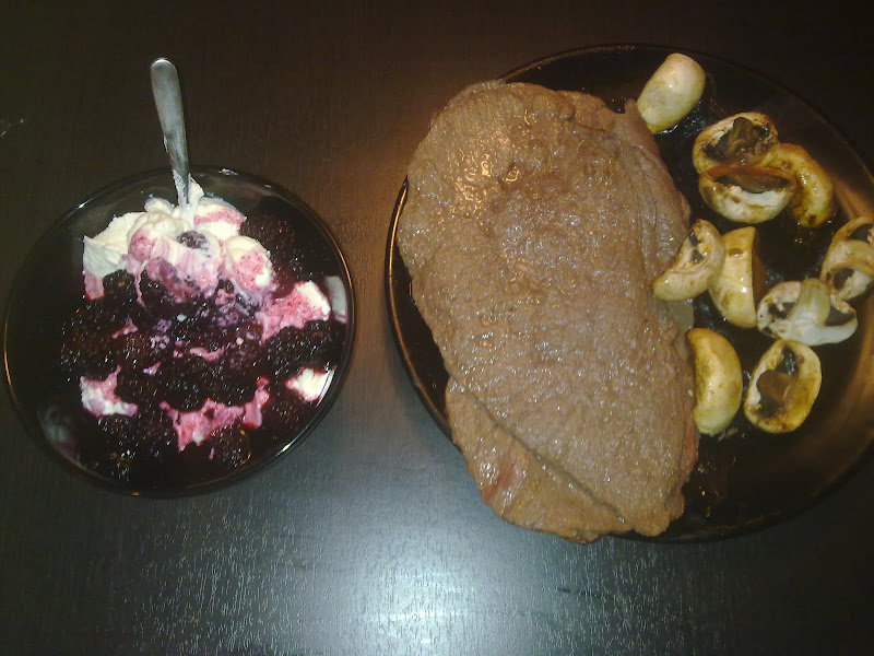 Plates with Beef and Mushrooms — Cottage cheese and Blackberries