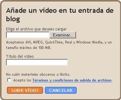 Blogger permite añadir videos a las entradas