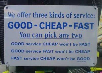 bueno, barato, rápido