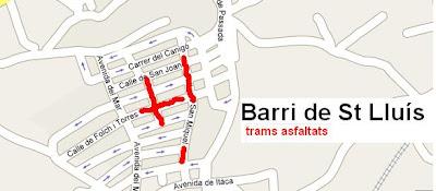 S'estan asfaltant diferents carrers al barri de St Lluís