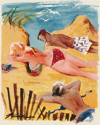 Topless blonde in red polka dot bikini sunbathes on beach in this Playboy cartoon