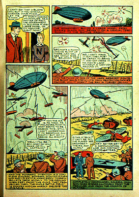 Blimps zeppelins and airship are shown in this classic old cartoon page from 1940.
