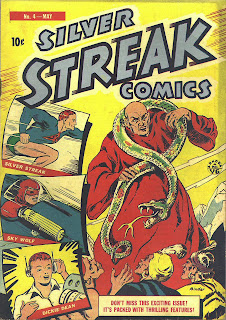 Comic book superhero and villain with snake are shown on this cover of Silver Streak Comics from 1940.