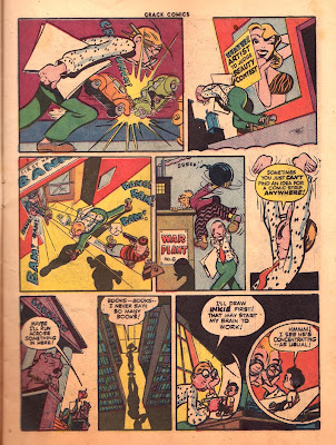Cartoon car crash and back robbery is shown in this rare comic book page from Crack Comics 33