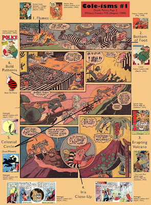A visual study of a page from a Jack Cole Death Patrol comic book story in which elements of his artistic style are analyzed.