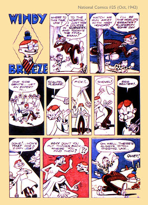 A cartoon doctor appears in this vintage classic comic book page from the golden age.