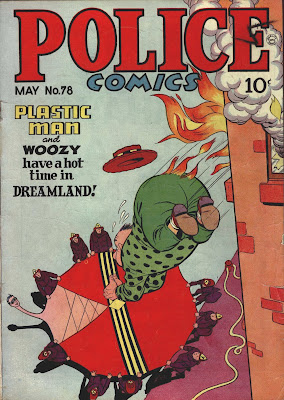 A classic comic book cover showing Plastic Man saving his friend from a burning building in Police Comics 78 by artists Jack Cole.