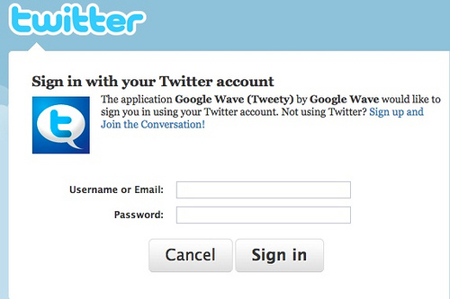 Twitter no Google Wave