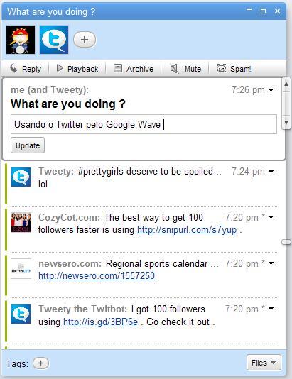 Twitter no Google Wave