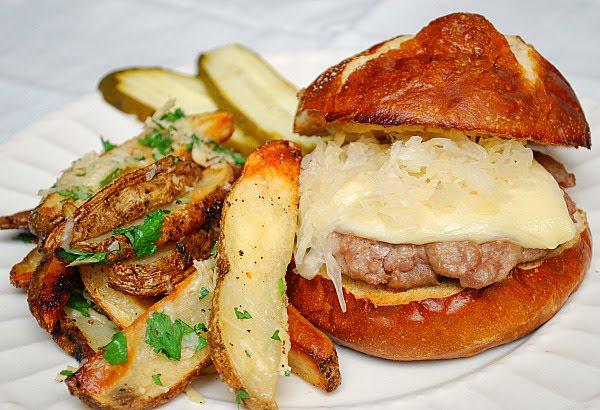 Bratwurst Burgers on a Pretzel Bun