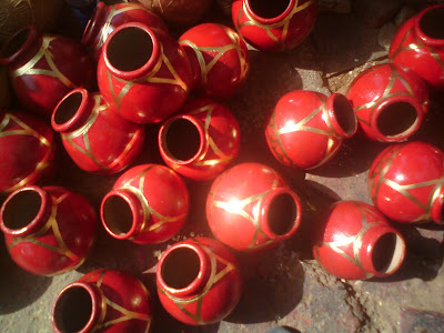 The finished earthen pots being dried in Jaipur