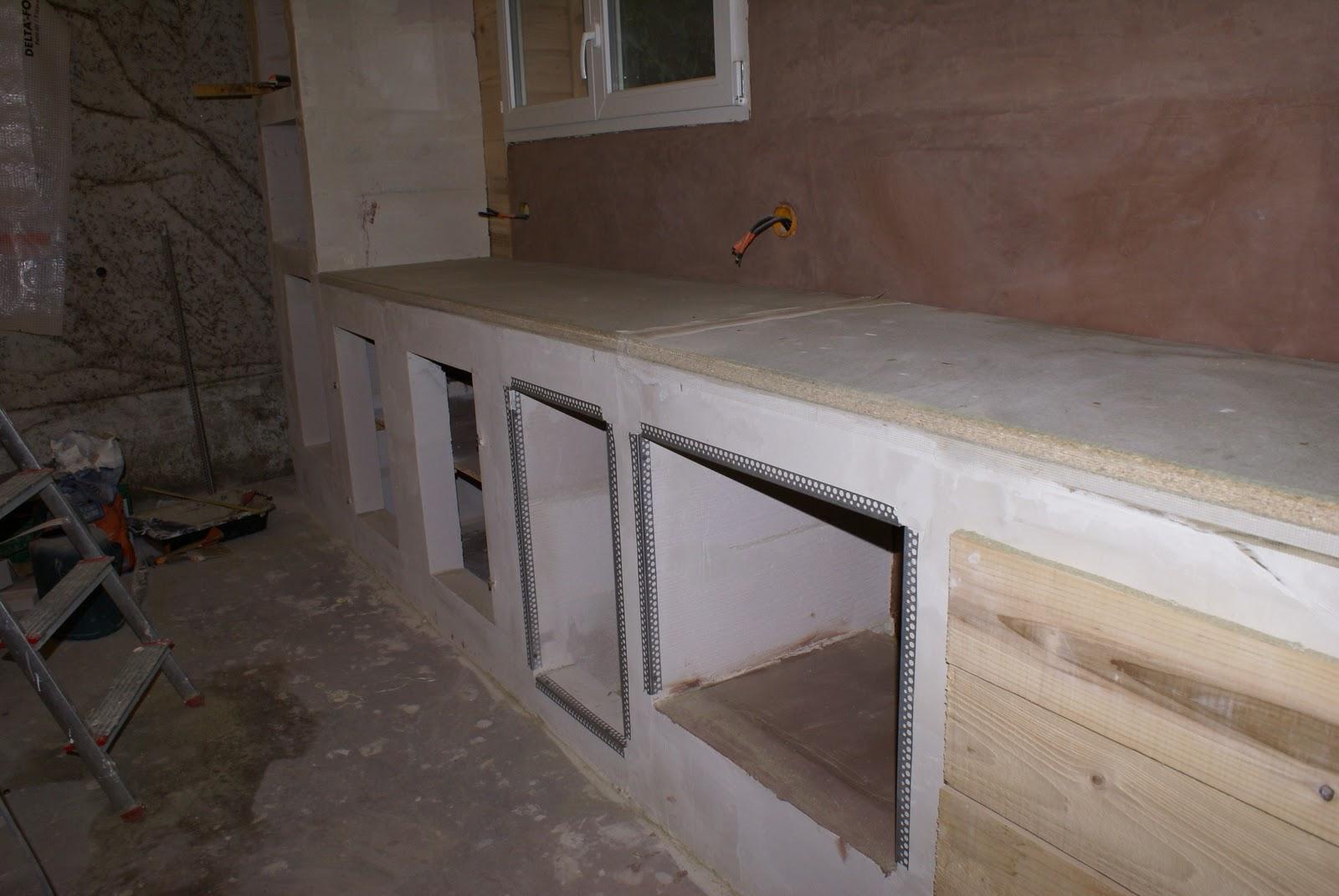 auto construction bois fixation du plan de travail et pr paration des supports pour l 39 enduit. Black Bedroom Furniture Sets. Home Design Ideas