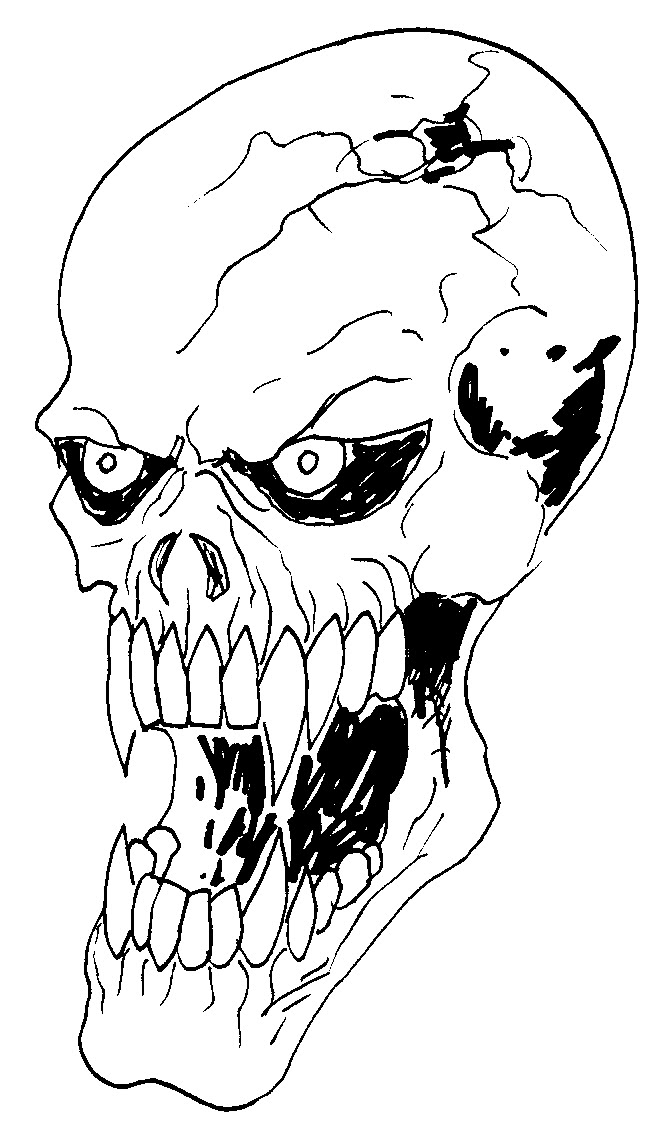 This is a picture of Hilaire Vampire Skull Drawing