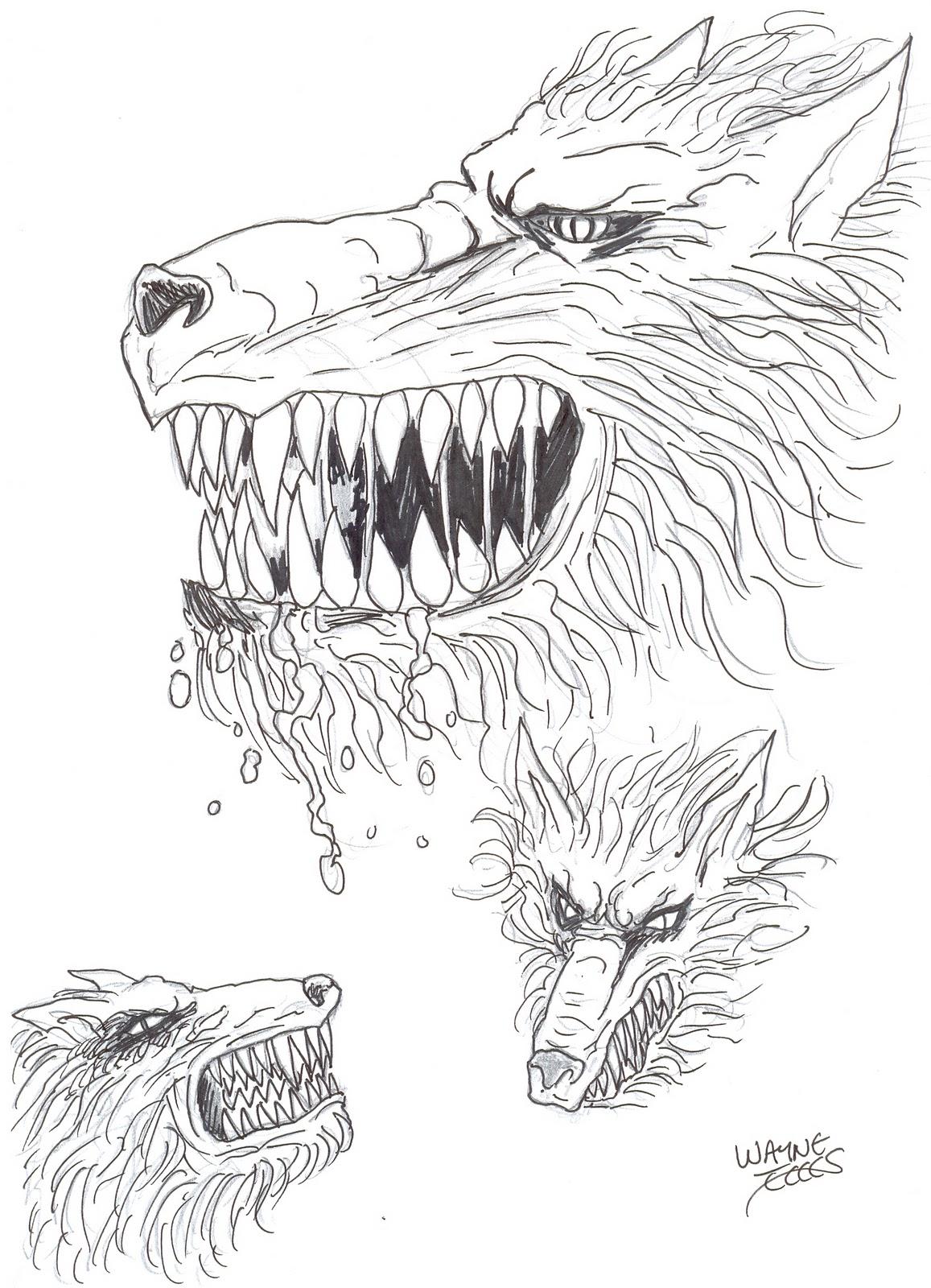 Wayne Tully Horror Art Demon Wolf Drawing Head Stu S