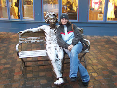 Mrs. Flory with a statue of Albert Einstein