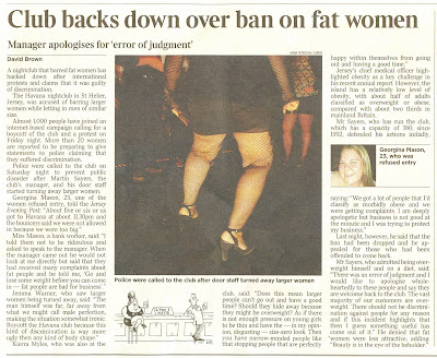 Title – Club backs down over ban on fat women