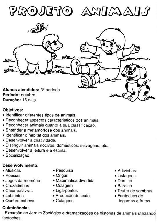 Super Projeto Animais 3º Período - Objetivos | Pra Gente Miúda KC52