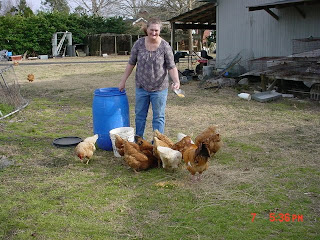 Sheryl with her chickens