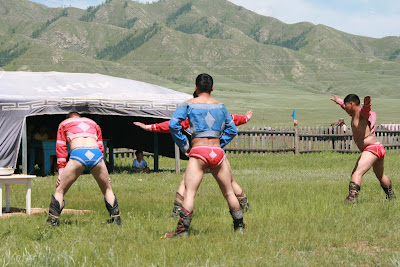 Catwalk Fashion Mongolia on Wrestlers From The  Little Nadaam  In Hutag Onder   Mongolian