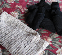 socks and crocheted scarf