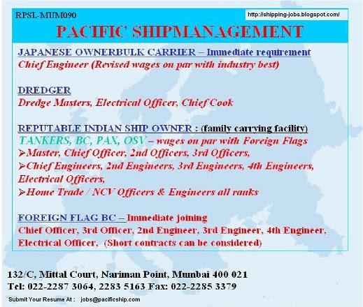 Shipping Jobs: Vacancies: Pacific Shipmanagement