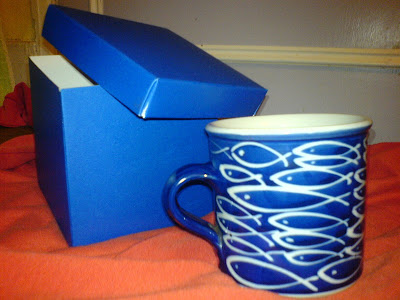 Blue cup and box