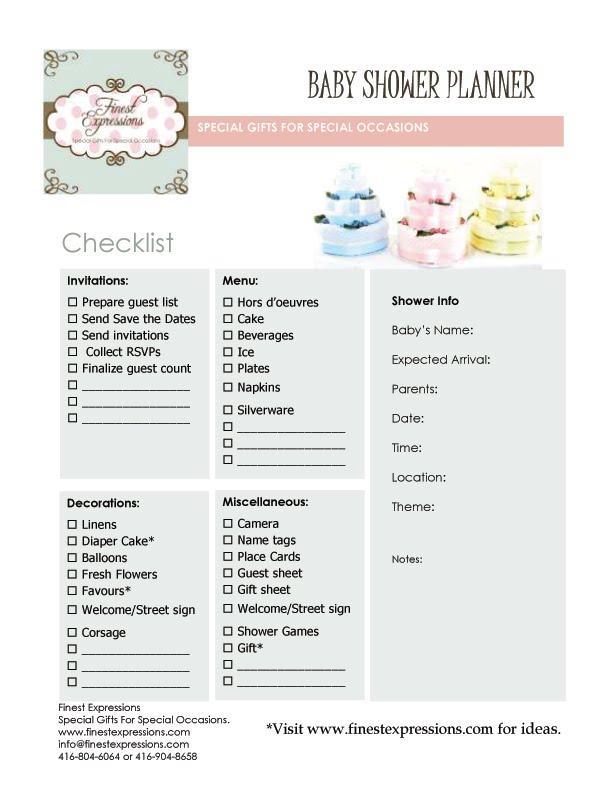 Finest Expressions: Baby Shower Planner/Checklist