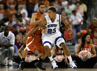 Texas Sophmore Guard D.J. Augustin guards Memphis Freshman Guard Derrick Rose