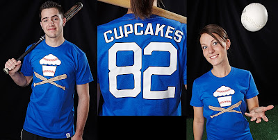 Johnny Cupcakes - Blue Baseball Cupcake and Crossbones T-Shirts