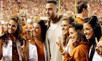 Derek Jeter and the University of Texas Cheerleaders at the Texas Longhorns vs. Missouri Tigers Football Game