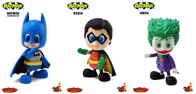 Classic Batman, Robin & The Joker Cosbaby Vinyl Figures by Hot Toys