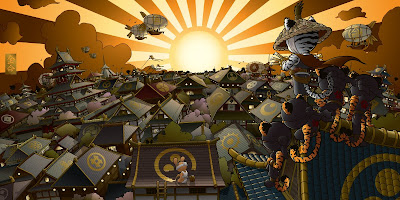 Huck Gee's New Gold Life Print - The Sunset Rooftops