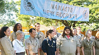 Lost - Namaste - The Oceanic 6 (Matthew Fox as Jack Shephard, Evangeline Lilly as Kate Austen, Jorge Garcia as Hurley Reyes) join the Dharma Initiative in 1977