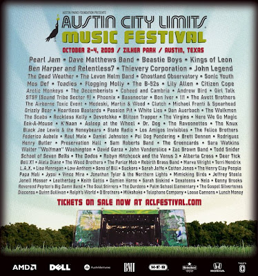 Official 2009 Austin City Limits Music Festival Lineup Poster