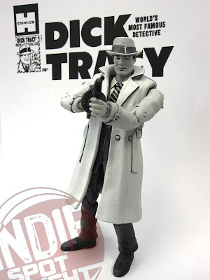 Shocker Toys Indie Spotlight Comic Book Heroes Toy Line - SDCC 2009 Exclusive Dick Tracy Black and White Variant Action Figure