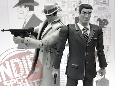 Shocker Toys Indie Spotlight Comic Book Heroes Toy Line - SDCC 2009 Exclusive Dick Tracy Black and White Variant and Standard Action Figures