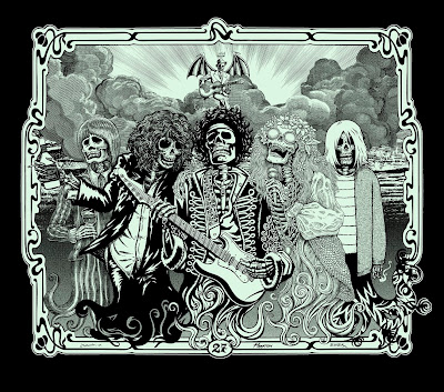 Post Neo Explosionism - The 27 Club (Black Glow Edition) Print by Justin Hampton, Emek & Jermaine Rogers
