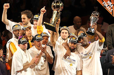 2010 NBA Champion LA Lakers - Kobe Bryant and the Los Angeles Lakers Celebrating Their Second Straight NBA Championship