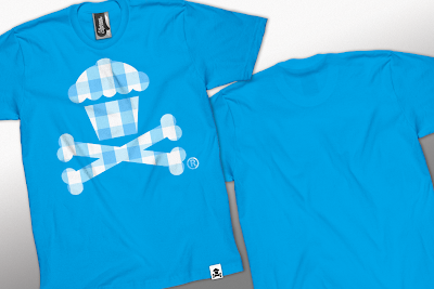 Johnny Cupcakes Summer 2010 Collection Part II - Gingham Aqua Cupcakes and Crossbones T-Shirt