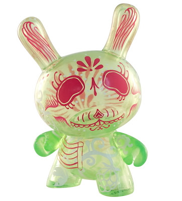 Kidrobot Dunny Series 2010 - Rare Clear Green and Pink Alternative Colorway Dunny by Damarak The Destroyer