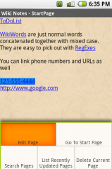Screenshot of WikiNotes for Android