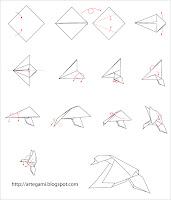 diagrama pato salvaje Tutorial Origami Pato Salvaje