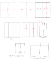 diagrama pantalon Tutorial de Origami Pantalon