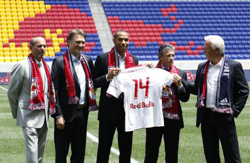 Thierry Henry is introduced to the media at Red Bull Arena