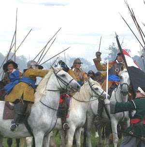 Parliamentary cavalry attack Royalists