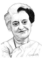 Image result for sketch of indira gandhi
