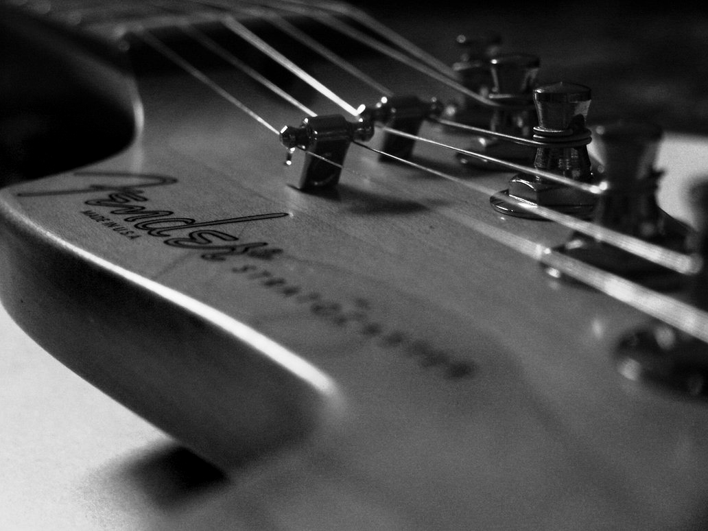 Pre CBS Fender Stratocaster Headstock Head Strings And Tuners Black White Music Desktop HD Wallpaper 1032x774