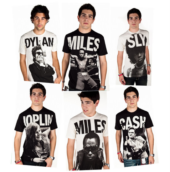 tees collection classic photograph Bob Dylan, Janis Joplin, Johnny Cash and Miles Davis